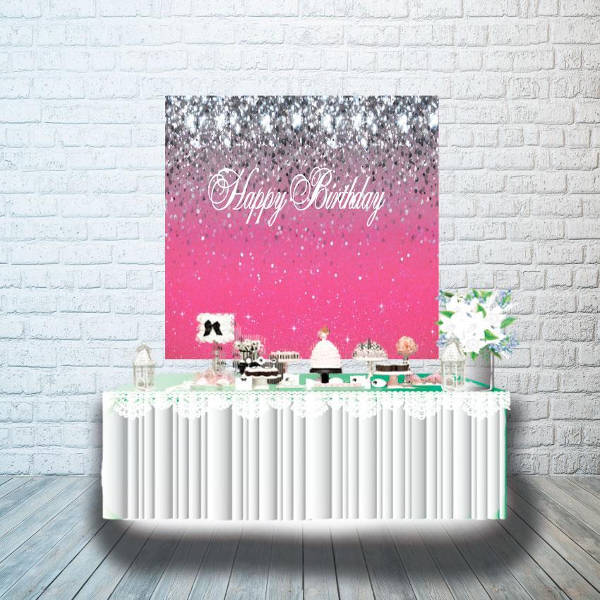 Плакат для кенди бара 1х1м, малиновые блестки  с серебром