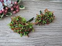 Тычинки сахарные на веточках салатовые с красными кончиками. 16 грн