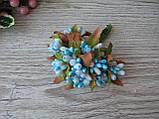 Тычинки с листочком сахарные сложные на веточках голубые. 16 грн, фото 2