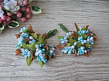 Тычинки с листочком сахарные сложные на веточках голубые. 16 грн