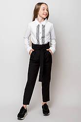 Школьные брюки с завышенной талией  на девочку подростка