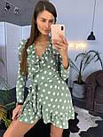 Женское платье на запах в крупный горох мятного цвета, фото 2