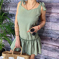 Платье женское летнее в полоску на завязках с воланом, G-109, хаки