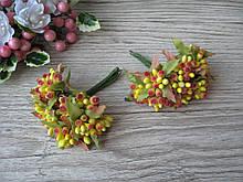 Тычинки с листочком сахарные на веточках желтые с красными кончиками. 16 грн