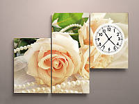 Настенные часы с картиной на холсте Розы