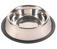 Миска для собак из нержавеющей стали с резинкой Trixie 2,5 л / 24 см