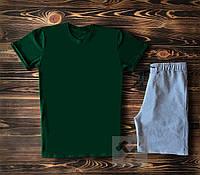 Мужская темно-зеленая футболка и мужские серые шорты / Летние комплекты для мужчин