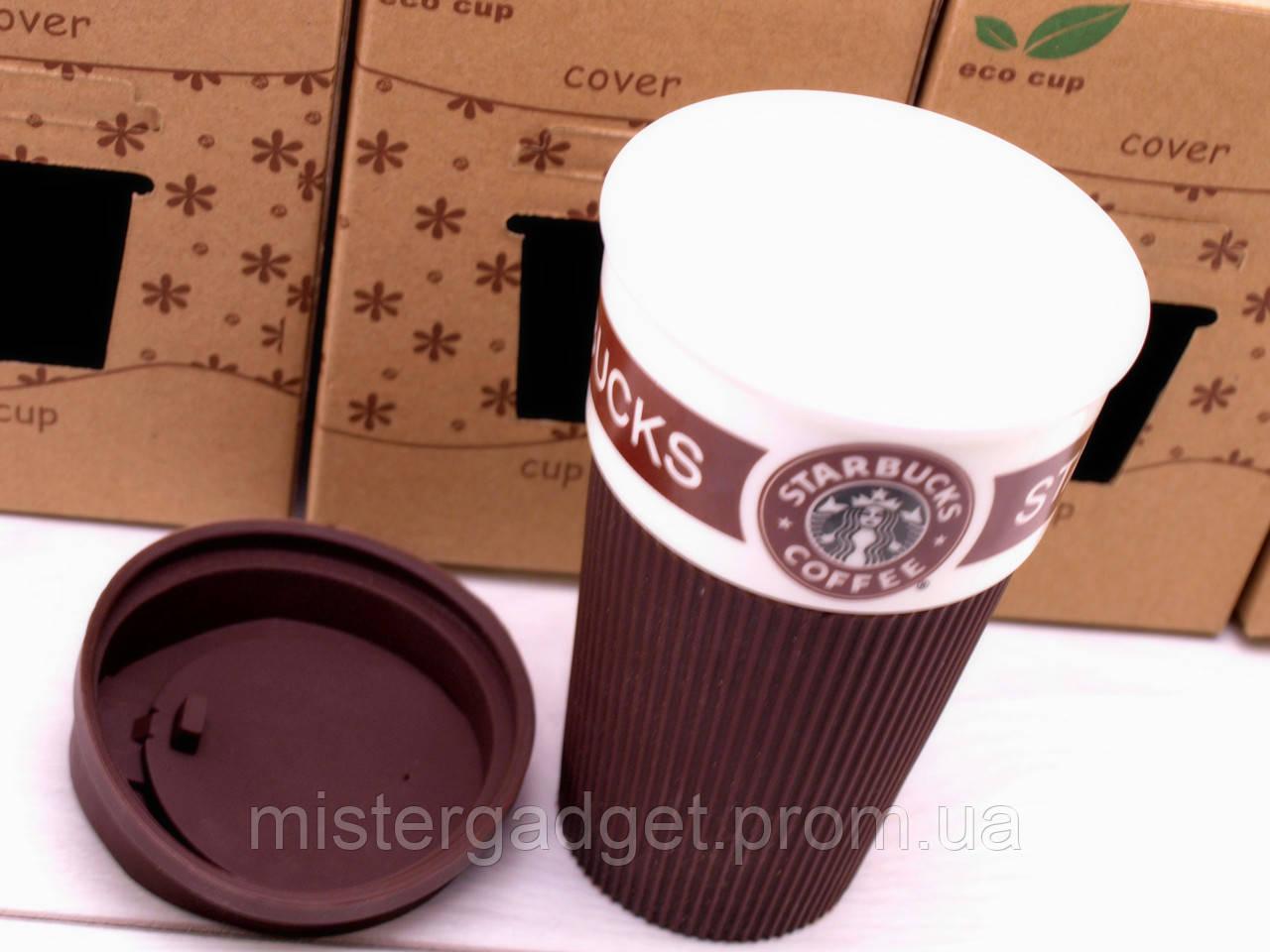 Термо кружка Starbucks коричневая чашка Старбакс Керамическая