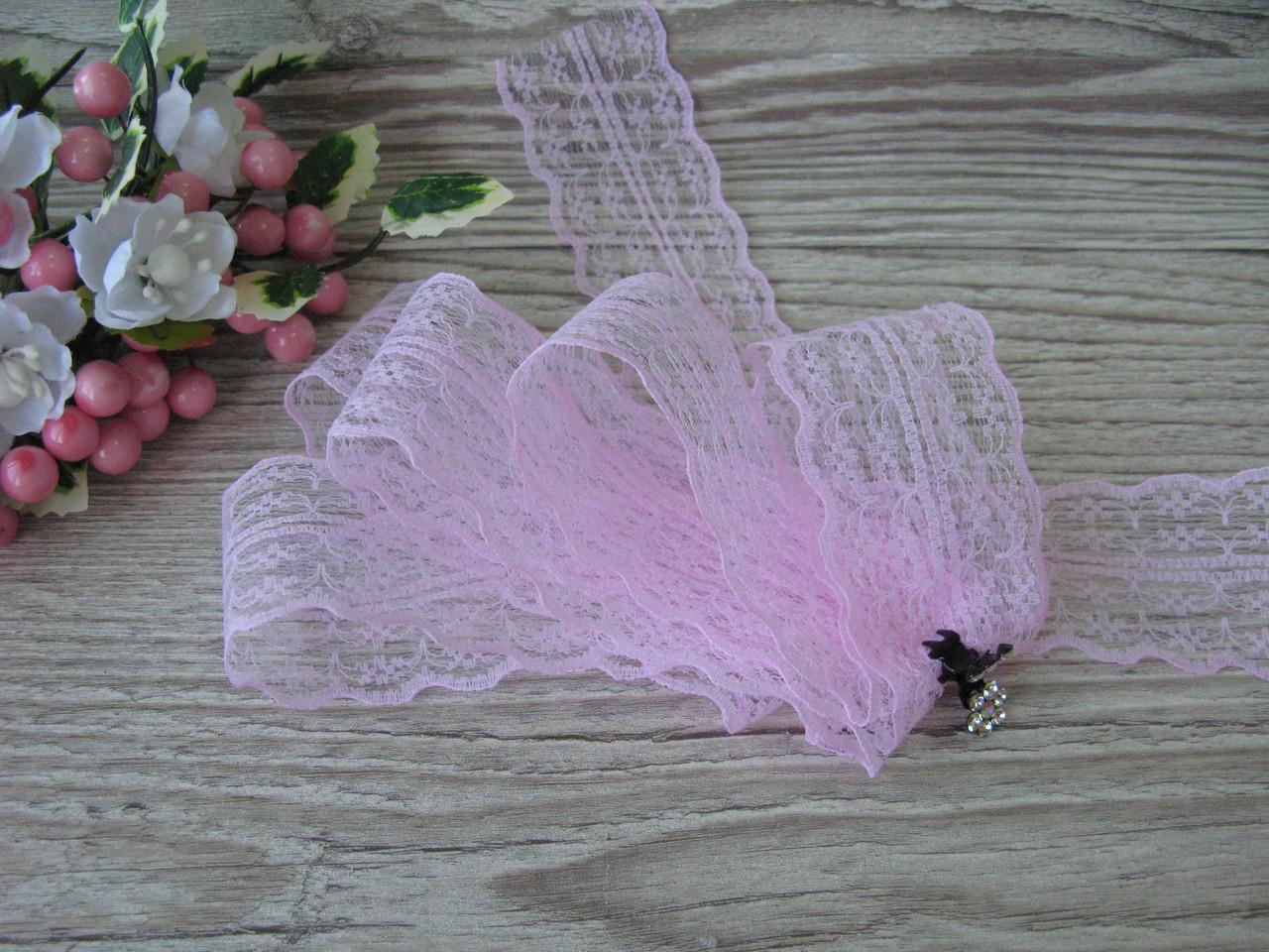 Кружево в цветочек 4,5 см цвет нежно розовый