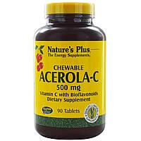 Витамин С (Vitamin C) со вкусом ацеролы Nature's Plus  500 мг 90  жевательных таблеток