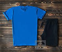 Мужская синяя футболка и мужские черные шорты / Летние комплекты для мужчин