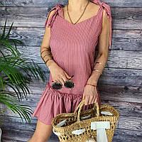 Платье женское летнее в полоску на завязках с воланом, G-109, бордовое