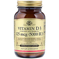 Витамин Д3, (Vitamin D3 Cholecalciferol), Solgar, 5000 МЕ, 120 капсул