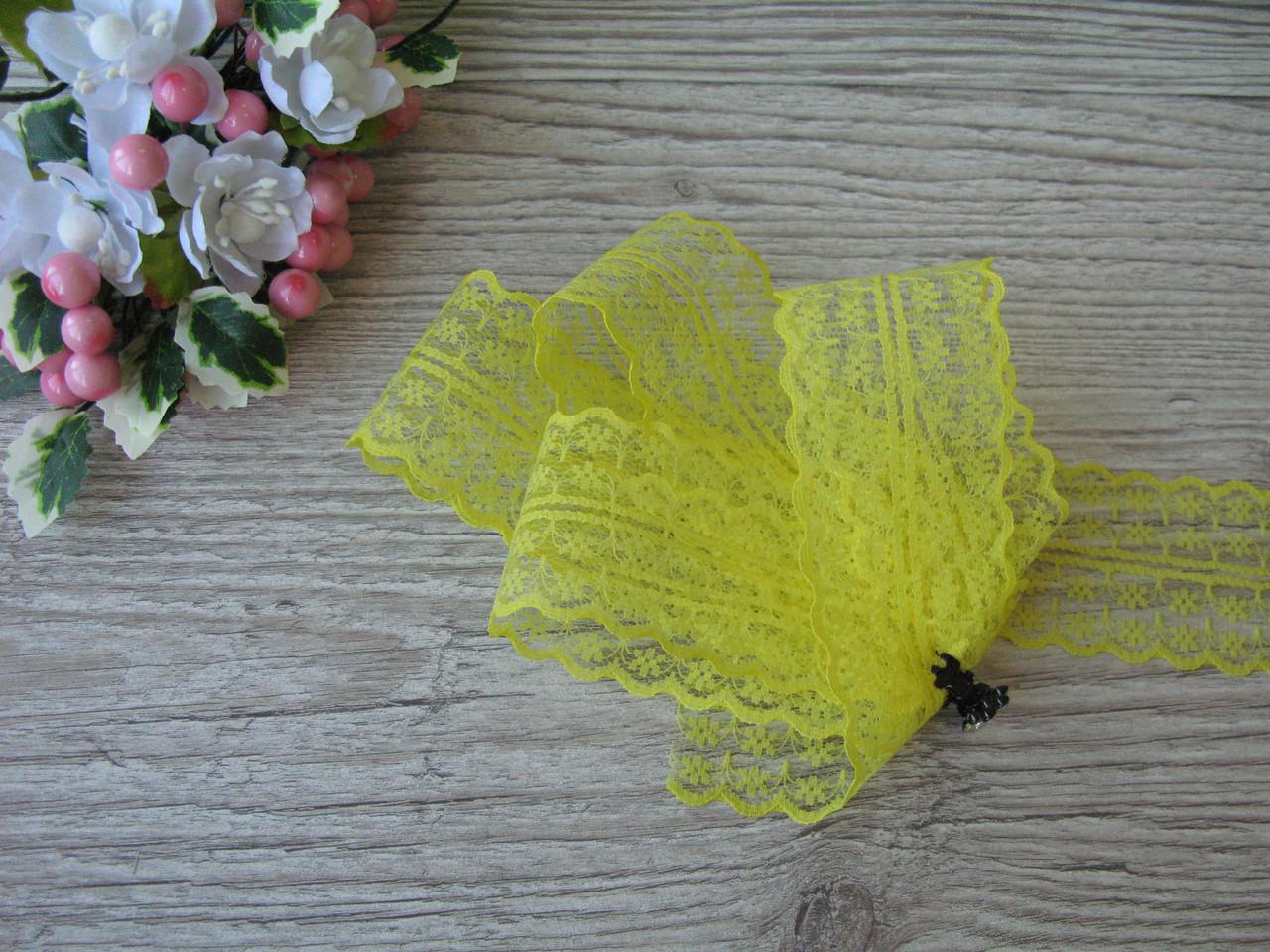 Кружево в цветочек 4,5 см цвет желтый