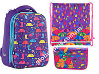 """Набор: рюкзак ортопедический + сумка для обуви + пенал «YES» """"Umbrellas"""" H-12, 556044-1, фото 1"""