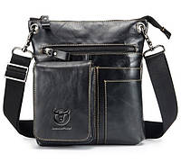 Мужская кожаная наплечная сумка BullCaptain черная