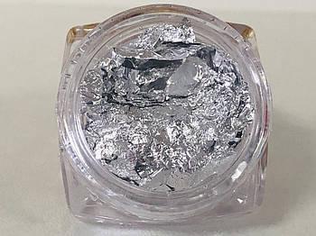 Жатая фольга в баночке,серебро, 1 шт