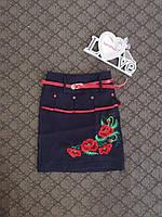 Юбка вышитая с поясом для девочки с нежными маками
