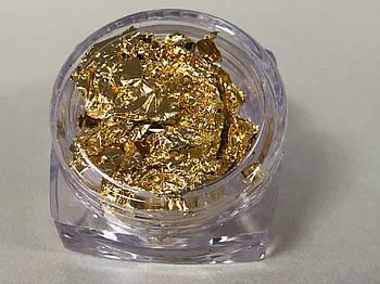 Жатая фольга в баночке,золото, 1 шт