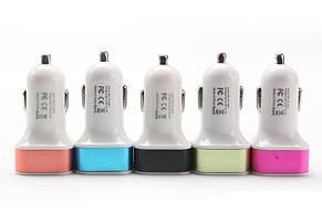 АЗУ авто зарядка 2 USB mini цветной квадратный Blister case переходник в машину, фото 3
