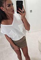 Легка жіноча блузка з короткими рукавами в кольорах, розмір від 42 до 48