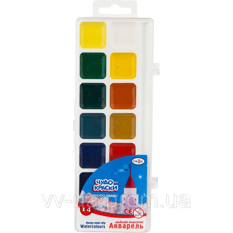 Краски акварельные Гамма Чудо-Краски, 14 цветов (212074)