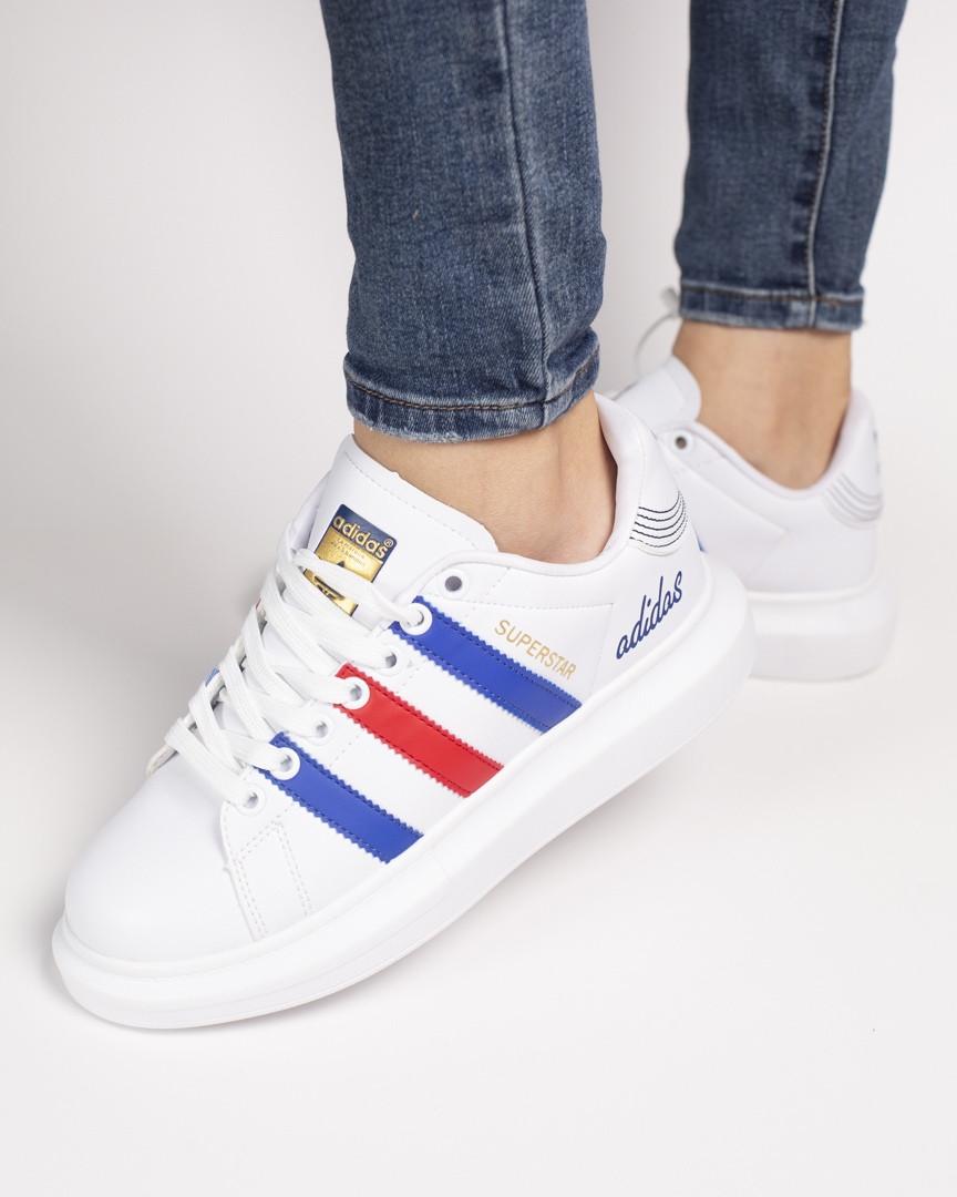 d695c088b9a98c Женские кроссовки Adidas Superstar White/Blue/Red - FREE CHOICE - ИНТЕРНЕТ- МАГАЗИН