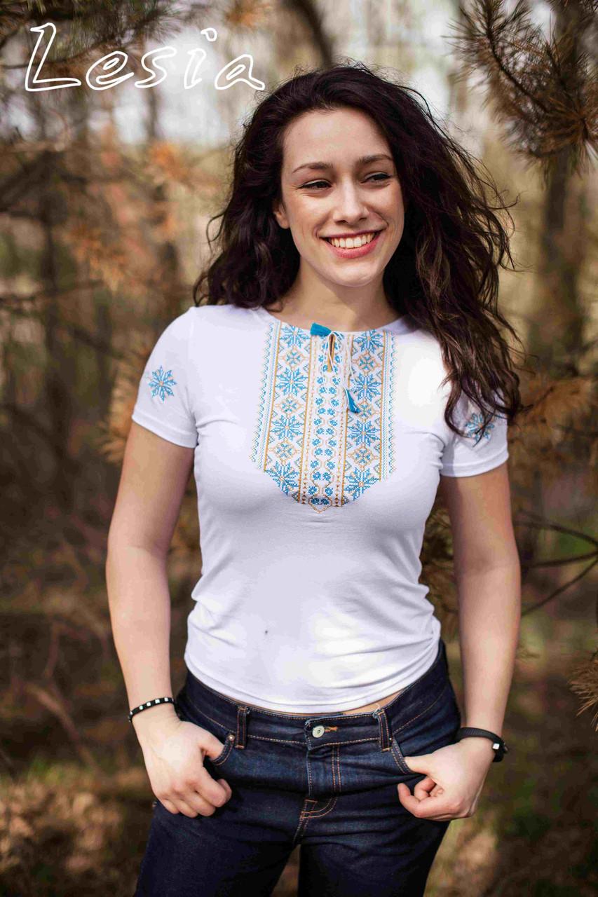 Жіноча футболка Мережка жовто-блакитна 98388beea9177