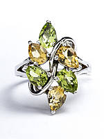 Кольцо серебряное с цитрином и хризолитом