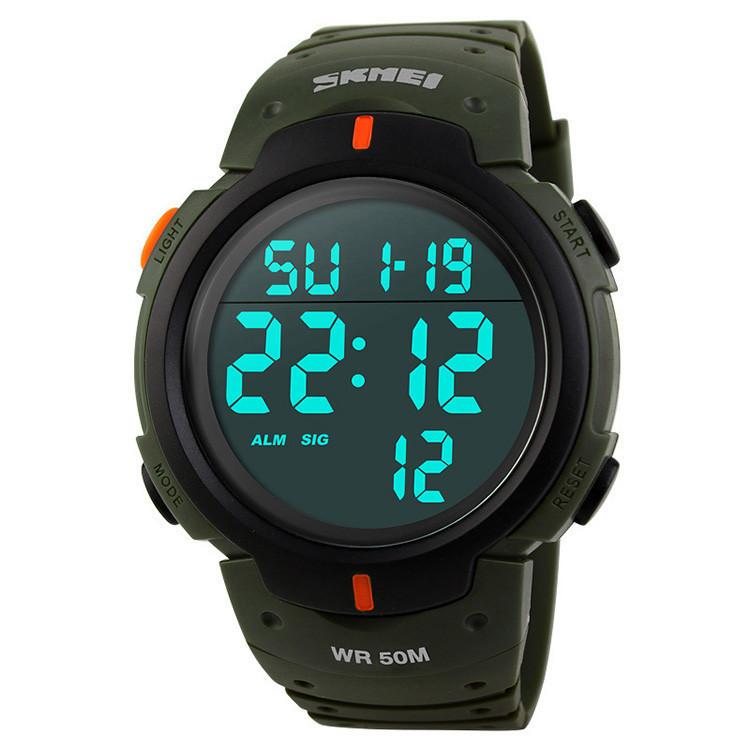 Skmei 1068 зеленые спортивные мужские часы