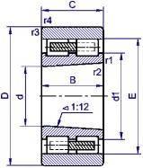 Подшипник  роликовый радиальный с короткими цилиндрическими роликами  4-3182128