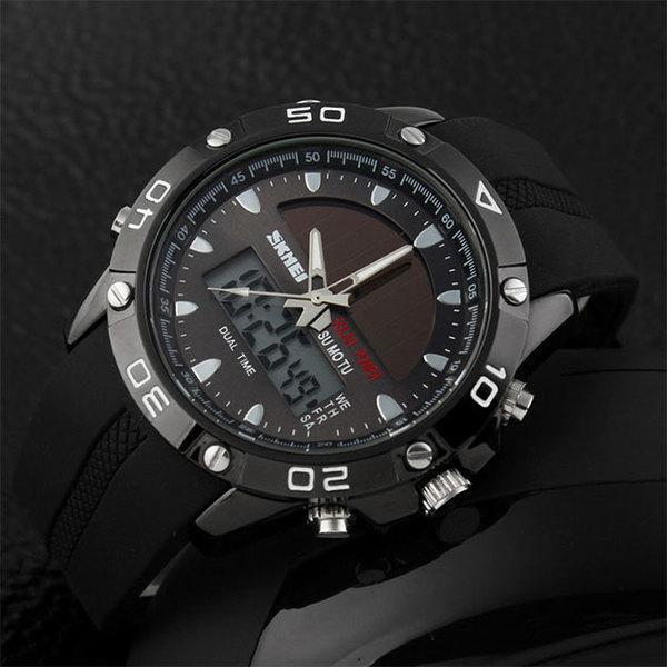 Skmei 1064 Черные Solar мужские часы на солнечной батарее