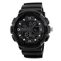 Skmei 1189 черные с черным циферблатом мужские часы спортивные