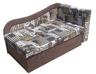 Детский диван Марко ЭКО Принт 4 + коричневый