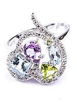 Кольцо серебряное с топазом, аметистом и хризолитом