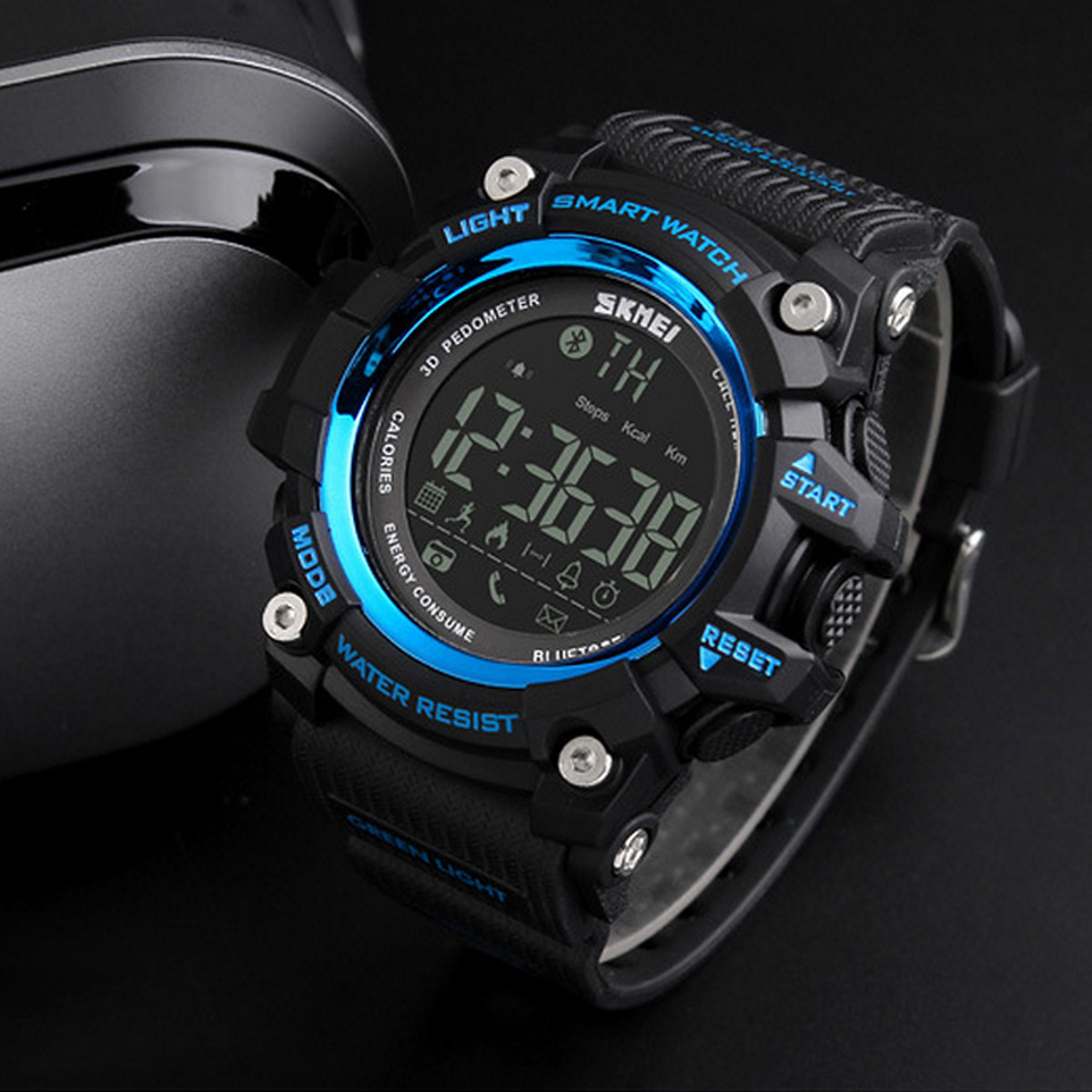 Skmei 1227 синие спортивные мужские часы с счетчиком калорий Smart