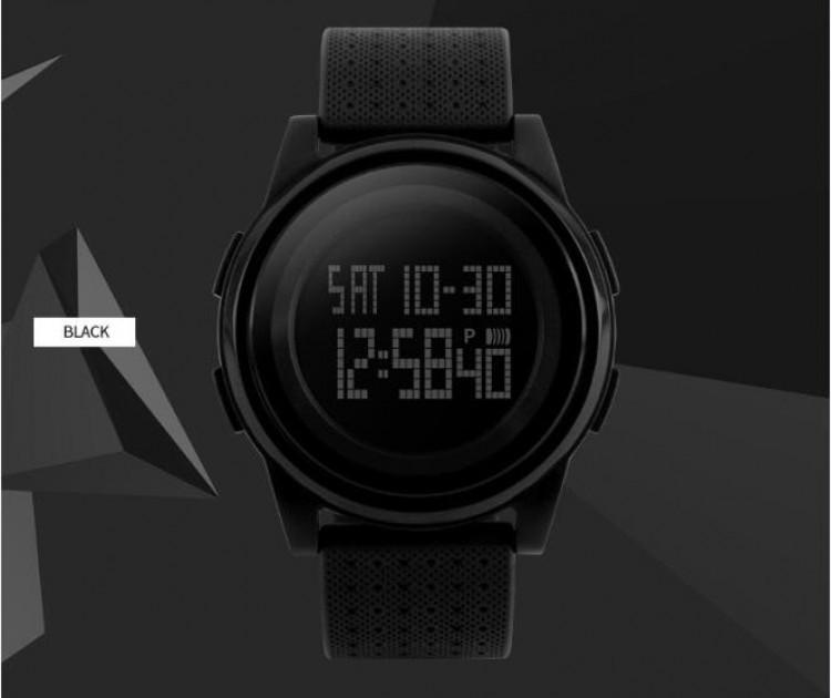 Skmei 1206 Ultra New черные с черным циферблатом спортивные тонкие часы