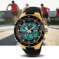 Skmei 1016 shark золотые спортивные мужские  часы