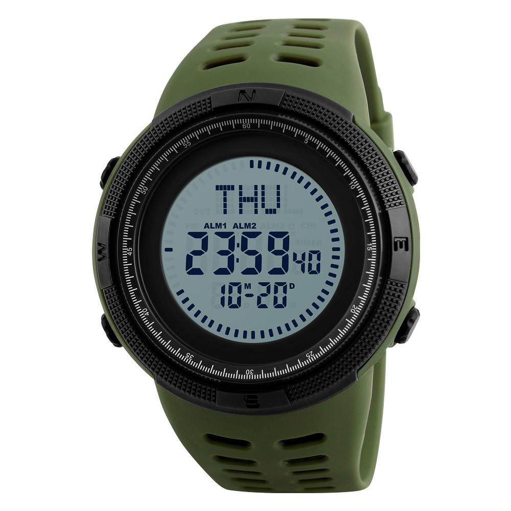 Skme 1254 compass зеленые спортивные часы с компасом
