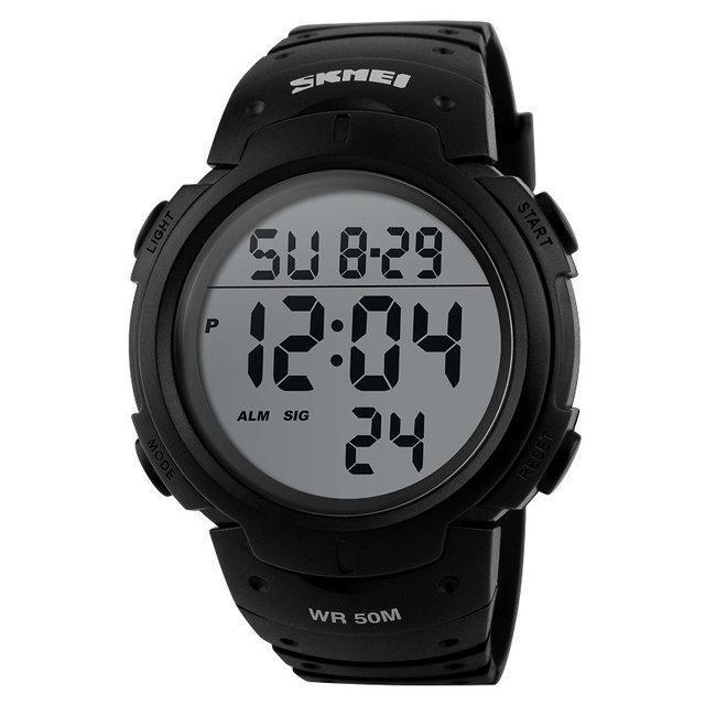 Skmei 1068 черные спортивные мужские часы