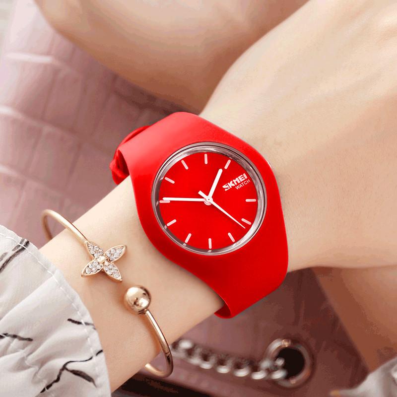Skmei 9068 RUBBER красные женские часы