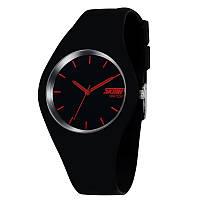 Skmei 9068 rubber черные с красным женские часы