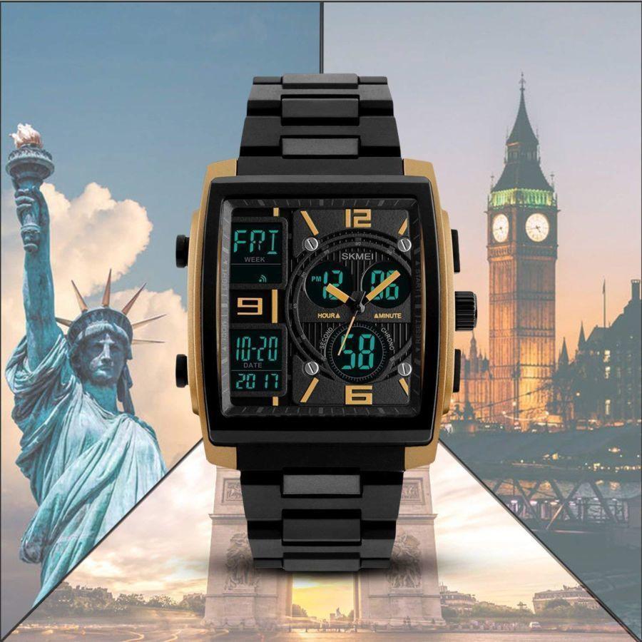 Мужские часы Skmei 1274 Tehno Золотые