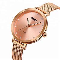 Оригинальные женские часы Skmei Angelus 1291 Розовое Золото