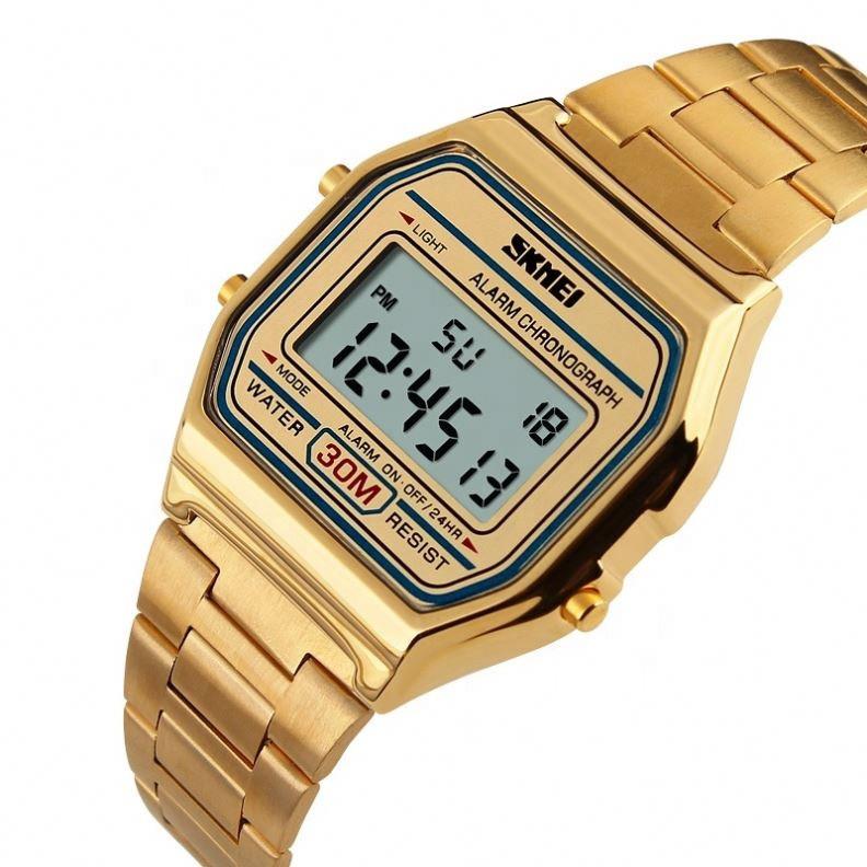 Часы в ретро стиле Skmei 1123 POPULAR золотые