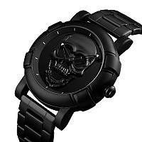 Skmei 9178 Skull черные оригинальные металлические часы с черепом