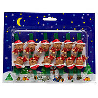 Набор игрушек на елку - прищепок медведь, 12 шт, 19*15 см, разноцветный, дерево (060382-2)
