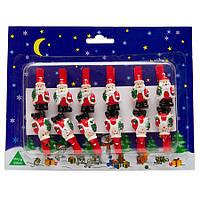 Набор игрушек на елку - прищепки Дед Мороз с елкой, 12 шт, 19*15 см, красный, дерево (060382-4)