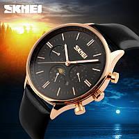 SKMEI 9117 Золотые с черным циферблатом классические мужские часы