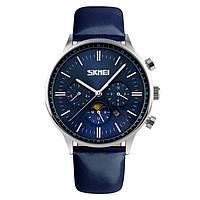 Классические мужские часы SKMEI 9117 Серебристые с Синим циферблатом